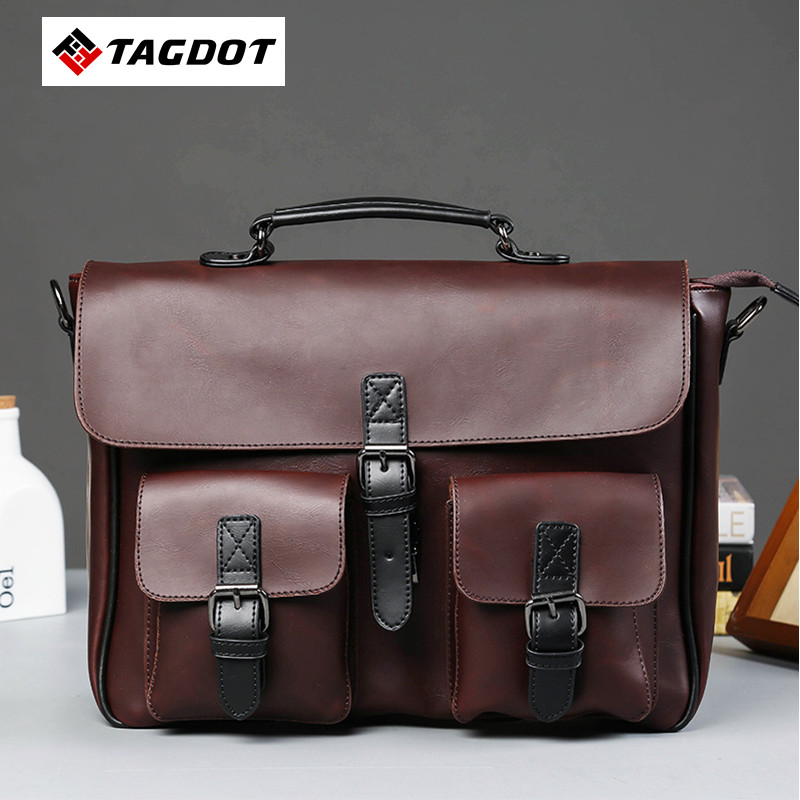 High Quality Men Bag Crazy Horse PU Leather Men's Handbags Casual Business Laptop Shoulder Bags Briefcase Messenger bag 2016 NEW цены