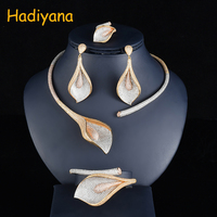 Hadiyana Exaggerate Big Flower Women Wedding Set Jewelry With Mixed Color Plating Cubic Zirconia Dubai Costume Jewelry Set CN748