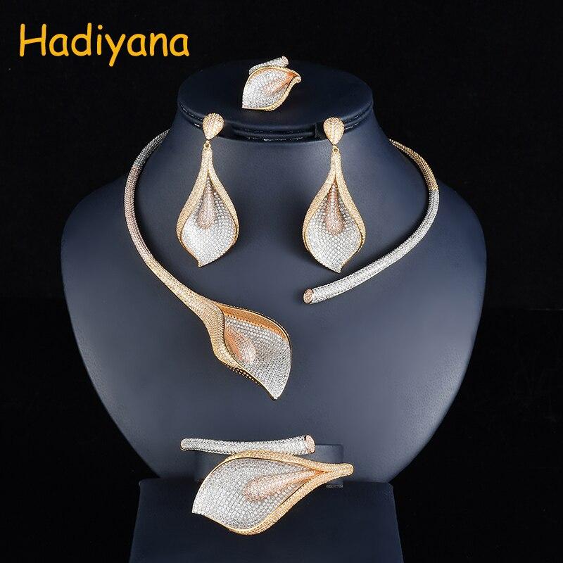 Hadiyana Exaggerate Flor Grande Conjunto de Jóias de Casamento Das Mulheres Com Cor Misturada Chapeamento Zirconia Cúbico Dubai Bijuterias Definir CN748