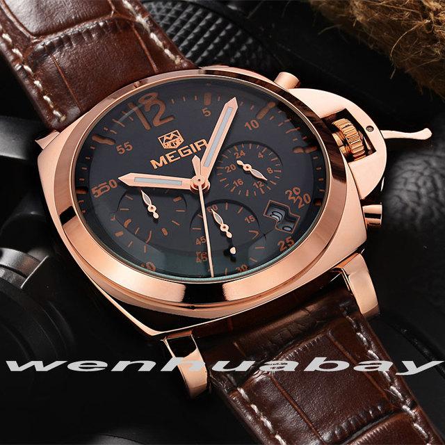 Megir Mens Watch Casual couro genuíno luxo homens relógios de quartzo relógio de pulso cronógrafo e 24 horas função relógio do esporte relogio