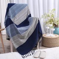 Borlas Azul Geométrica Sofá Cobertor Joga Cobertor Tecido Macio Tampa Da Cadeira Do Sofá Sofá Cama Cobertores Tapetes de Decoração Para Casa sofa blanket blanket throwsofa blanket throws -