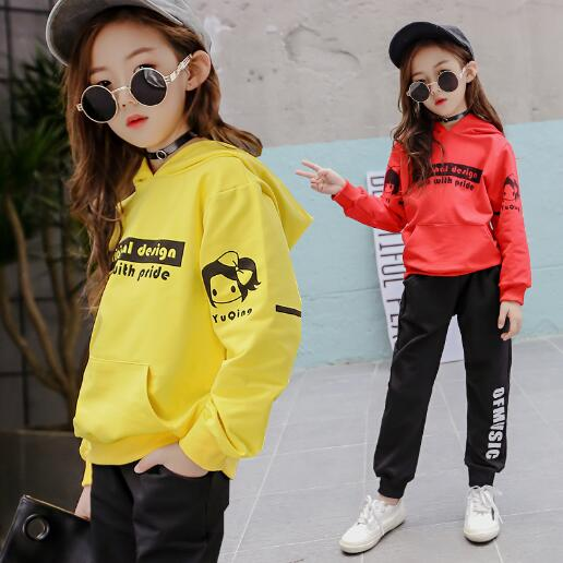 Girls Set Spring Autumn Childrens Clothing Sets Teenage Girls Long Sleeve Tops+ Pants Tracksuit Kids Clothes Sports Suit 6-14Y