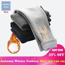 Liakhouskaya High Quality Winter Autumn Thick Warm Leggings For Girls Children Cartoon Print Pants Kids Cute Cat Long Trousers