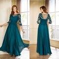 Apliques de Três Quartos Mangas Lace Plissados Mãe dos vestidos de Noiva plus size Vestido Longo 2015 Plus Size Vestidos Mãe Illuson Voltar J175051