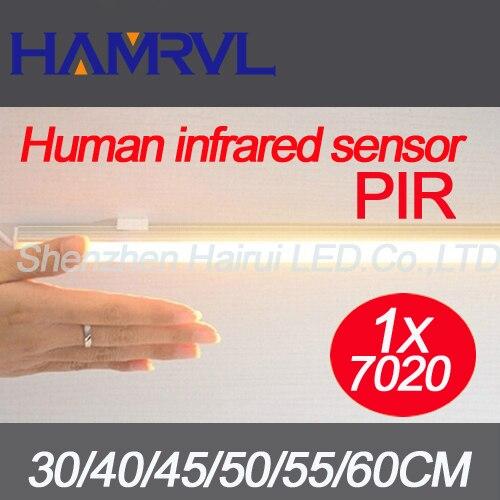 2018 New!! 1pcs Human Infrared Sensor Light PIR LED Rigid Strip 7020 Cabinet LED Bar Light DC12V Kitchen led light