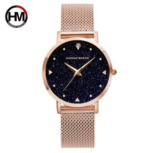 цена HOT  HANNAH MARTIN  Women Watch Luxury Rhinestone Starry Sky Dial Ladies Stainless Steel Bracelet Watches Waterproof Clock онлайн в 2017 году