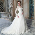 Elegant New White Tulle Full Sleeve Ball Gown Wedding Dress Bridal Gown vestido de noiva wedding gowns Robe De Mariage casamento