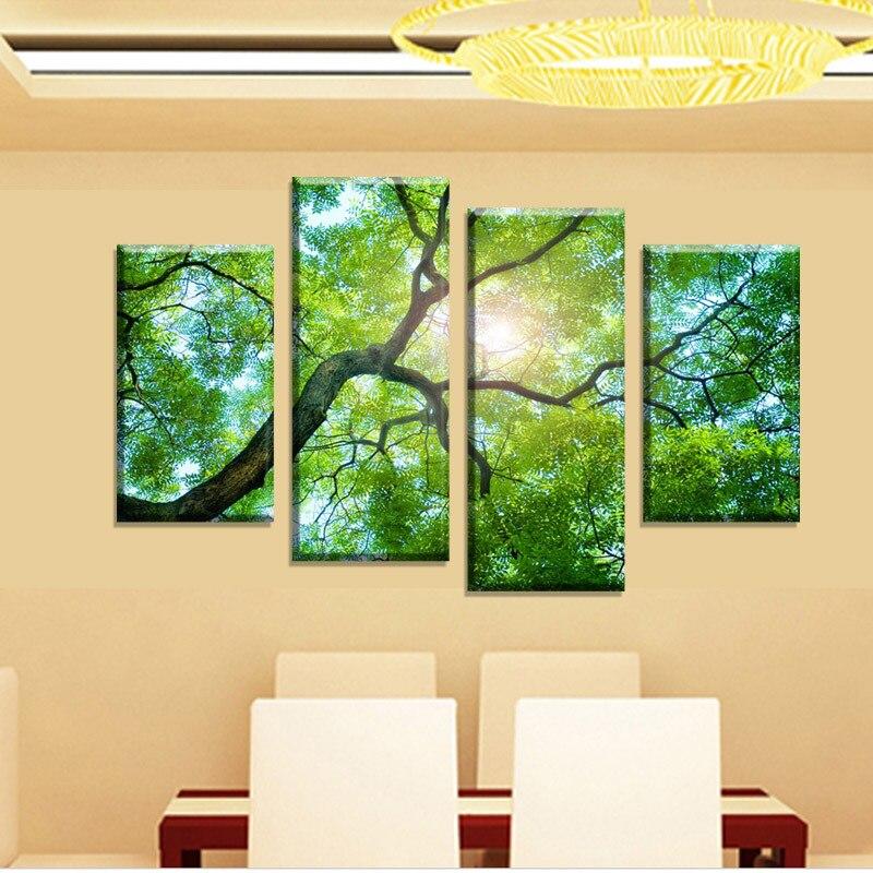 2017 Free shipping 4 Panels Green Tree Painting Canvas Wall Art ...