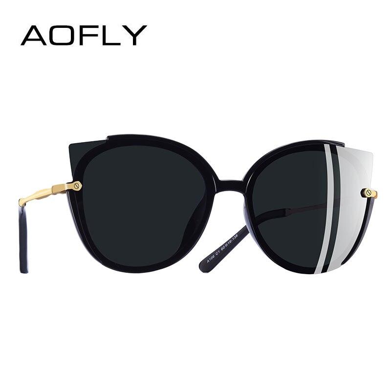 AOFLY BRAND DESIGN Moda Lady Occhiali Da Sole Polarizzati Donne Unico Telaio Occhio di Gatto Occhiali Da Sole Gafas UV400 A106