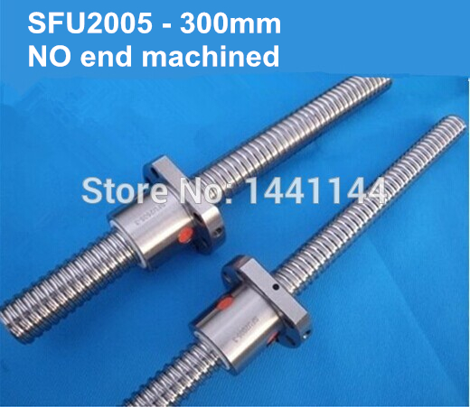 Rolled type ball screw SFU2005 -300mm +one single nut, 3 circuits Screw pitch / lead 5mm ballscrews, ballnut for CNC router tbi ball screw 2005 c7 1000mm with 5mm lead without flange ballnut bsh2005 for cnc kit backlash