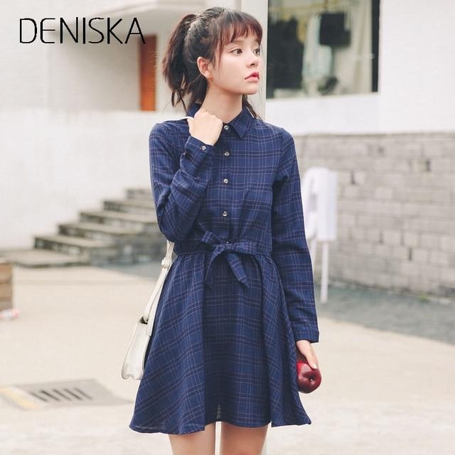 DENISKA Vestidos Plaid Check Shirt Dress 2018 Autumn Women Flannel Long  Sleeve Lapel Collar Grid Dress 440d46abc