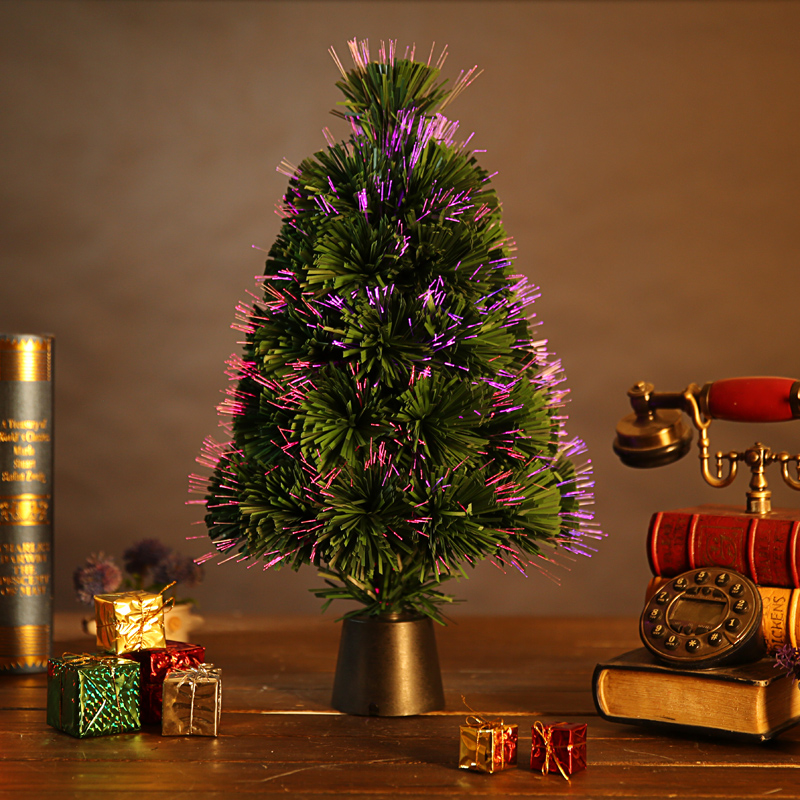 qijia 45cm fiber optic christmas tree pink charged desktop decoration small luminous christmas tree shipping in christmas from home garden on - Small Fiber Optic Christmas Tree