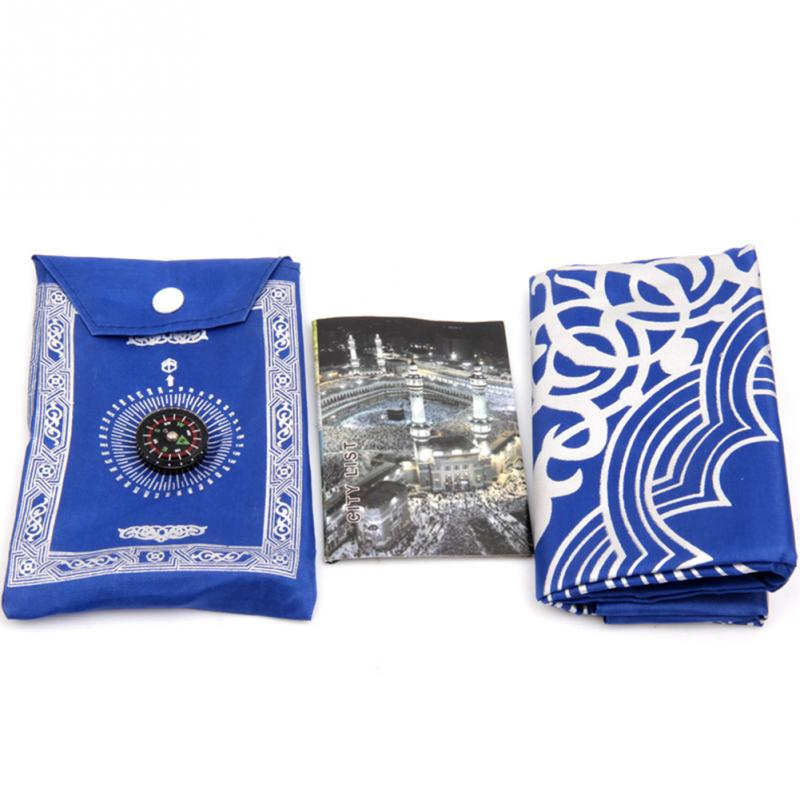 Waterproof Portable Muslim Prayer Rug 100*60cm Oxford Fabric  Mat Blanket Prayer Mat  With Compass In Pouch