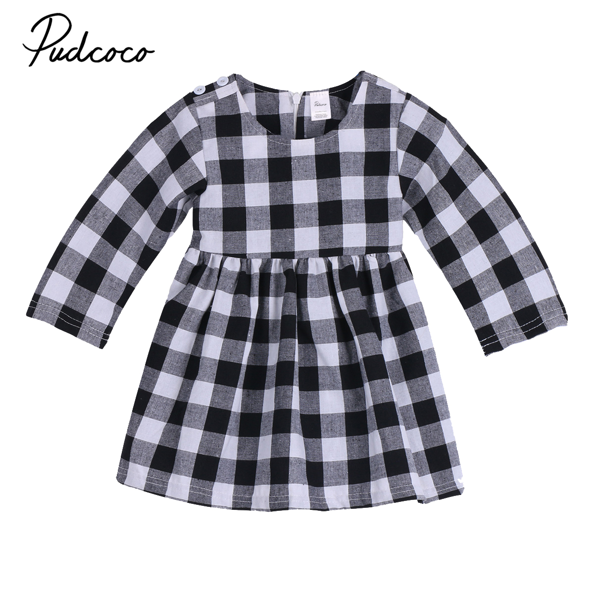 Pudcoco Cotton Newborn Baby Girls Toddler Kids Plaid Clothing Cute Dress Party Princess Wedding Tutu Long Sleeve Dresses 0-2T baby girls printed long sleeves dress girls party princess dress baby kids girls cute loose dress girls clothing 3 7ys