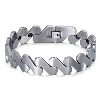 HIP Men S Health Magnetic Bracelet S Shape 21CM Long Stainless Steel Magnetotherapy Bracelets Bangles For