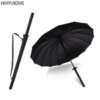 HHYUKIMI Brand Drop Shipping Windproof Samurai Sword Sun Rainny Umbrella Ninja Like Straight Long Handle Ribs