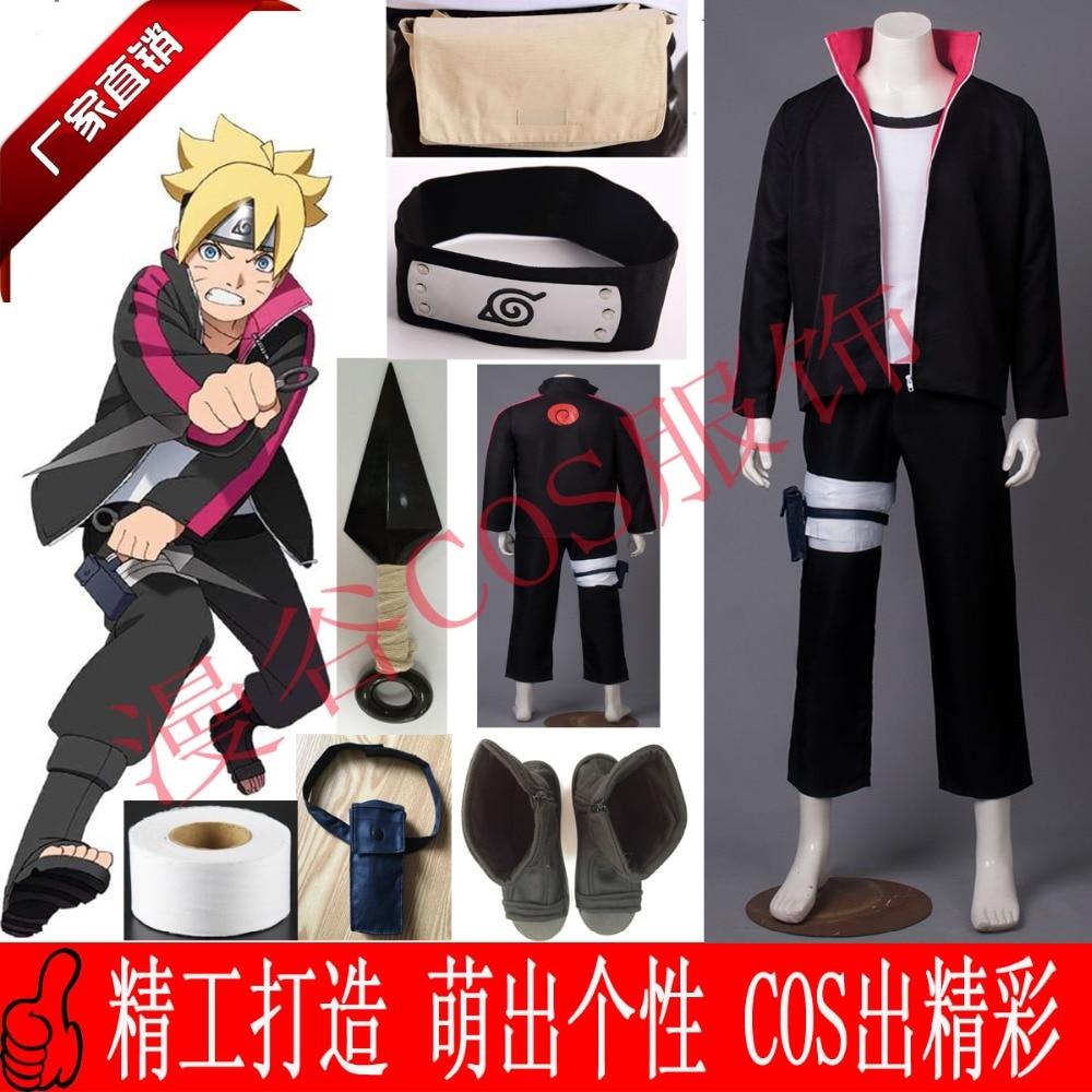 NARUTO Boruto Uzumaki Cosplay Costume Halloween Uniform Coat+T-shirt+Pants+Bags+Shoes+Headband+Weapons
