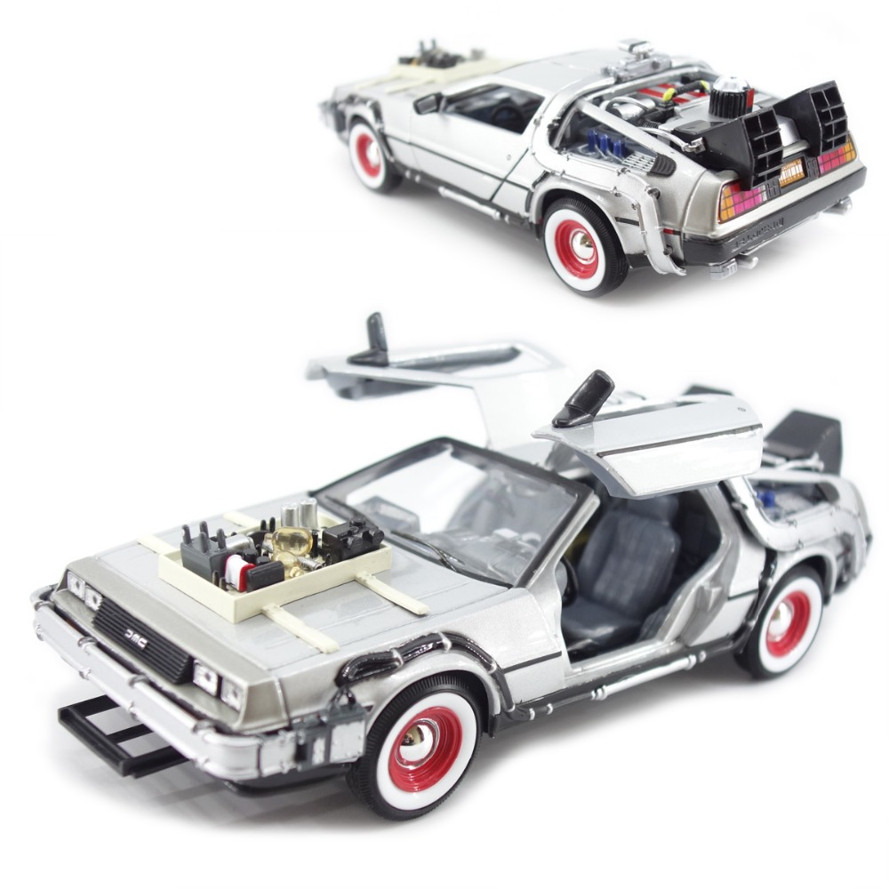 1/24 Scale <font><b>Diecast</b></font> Back To The Future <font><b>Car</b></font> <font><b>Model</b></font> Toys Ready Player Part one 1 2 3 Time Machine DMC-12 for Kid Gift image