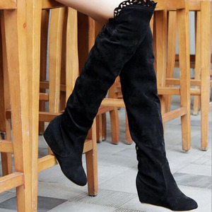 Image 4 - Faux Suede Slim Boots Sexy over the knee high women snow boots girls sweet winter autumn thigh high boots lace flower shoes