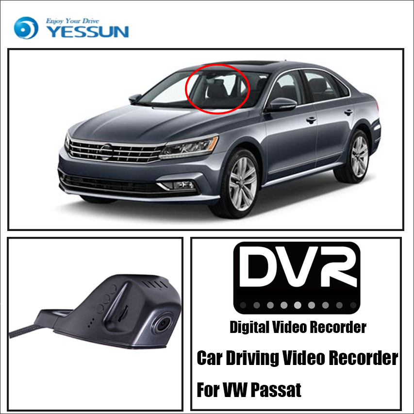 YESSUN - For iPhone Android APP Control Black Box Function Car Front Dash Camera CAM / DVR Driving Video Recorder For VW Passat yessun for vw amarok car driving video recorder dvr mini control app wifi camera registrator dash cam original style