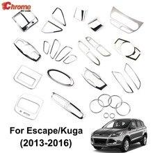 Para ford escape kuga 2013 2014 2015 2016 chrome interior interruptor de luz botão painel ac ventilação ar capa guarnição decoração do carro estilo