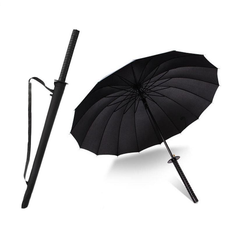 DLYLDQH de los hombres de la marca de mango largo paraguas Samurai negro de estilo japonés Samurai Ninja espada Katana paraguas grande a prueba de viento