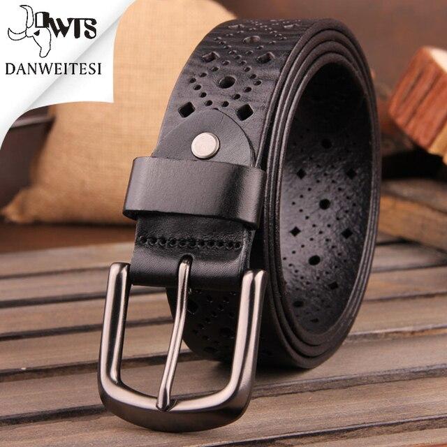 [Dwts] 2016 marca de lujo correa de cuero genuina para los hombres, casual hollow cinturones de diseñador hombres de alta calidad del macho correa, jeans cinturones de cadera