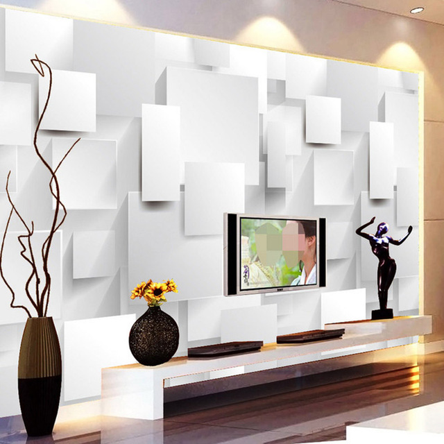 modern minimalist 3d stereo geometry cube mural wallpaper. Black Bedroom Furniture Sets. Home Design Ideas