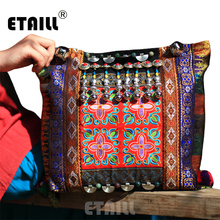 Vintage Chinese Hmong Tribal Ethnic Thailand Indian Boho Handmade Embroidery Bell Shoulder Messenger Tote Bag Sac a Dos Femme