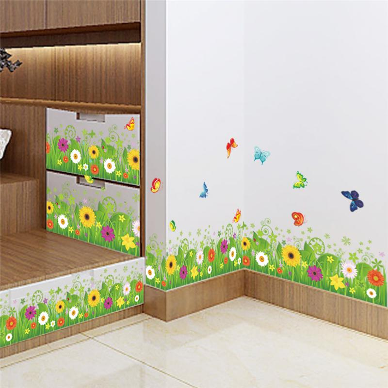 Colorful flowers butterflies fences baseboard wall decals for Diy mural painting