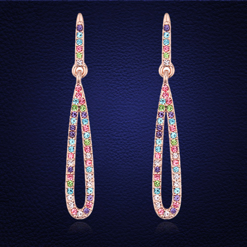 Trendy Drop Earring Fine Jewelry Crystals from Austria Gold Color Earrings Pendientes For Women