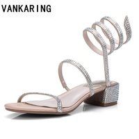VANKARING women sandals new 2018 summer fashion rhinestone square middle heels shoes woman casual shoes size 39 black silver