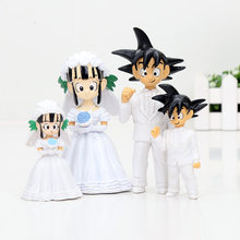 2pcs/lot Anime Dragon Ball Z figure doll Son Goku Chichi Wedding Ver. PVC Action Figure model collection Toys gifts(China)