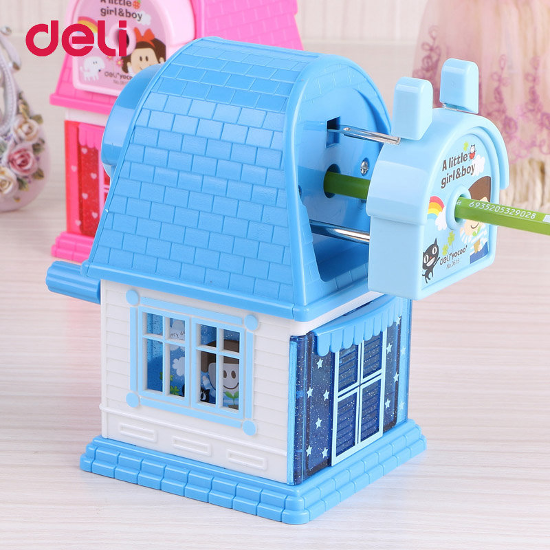 Deli Cute Kawaii House Mechanical Pencil Sharpener Kids School Supplies Stationery Hand Crank Mechanical Pencil Sharpeners deli cute stationery thomas mechanical pencil sharpener train friends give child a learning gift good quality school stationery