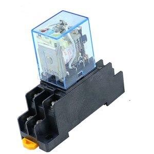 Image 2 - 10 stks MY2P HH52P MY2NJ 12 v 24 v DC/110 v 220 v AC coil algemene doel DPDT micro mini relais met socket base
