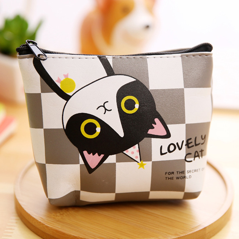 RU&BR Creative Cat Coin Purse Wallet Cute Animal Pattern Small Coin Purse Waterproof PU Leather  Zipper Women Coin Pouch dollar price women cute cat small wallet zipper wallet brand designed pu leather women coin purse female wallet card holder