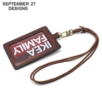 Vertical Style ID Badge Holder Business Case Cowhide Card Holders Name Tag Id Card Lanyard Retractable