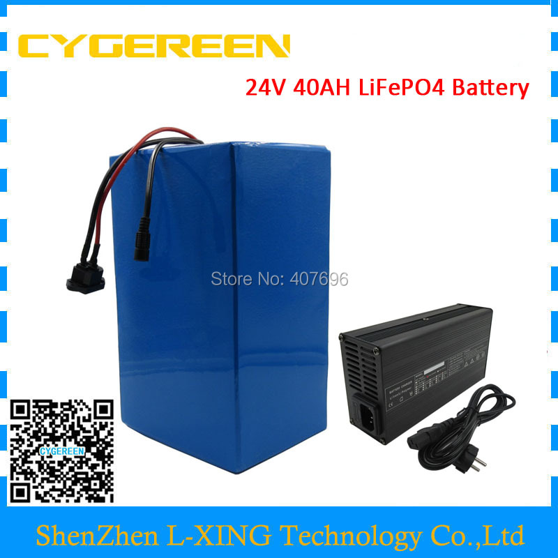 1000W lifepo4 24V 40AH electric bike battery 24V LiFePo4 battery electric tricycle fishing boat yacht with 50A BMS 5A Charger