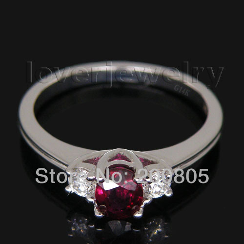 Early Spring  Oval 4x5mm IN Solid 18Kt White Gold Natural Diamond Ruby Ring WU133Early Spring  Oval 4x5mm IN Solid 18Kt White Gold Natural Diamond Ruby Ring WU133