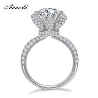 AINOUSHI Luxury 2 Carat Rose Flower High Claws Ring Original 925 Sterling Silver Sona Anniversary Wedding Ring Engagement Women
