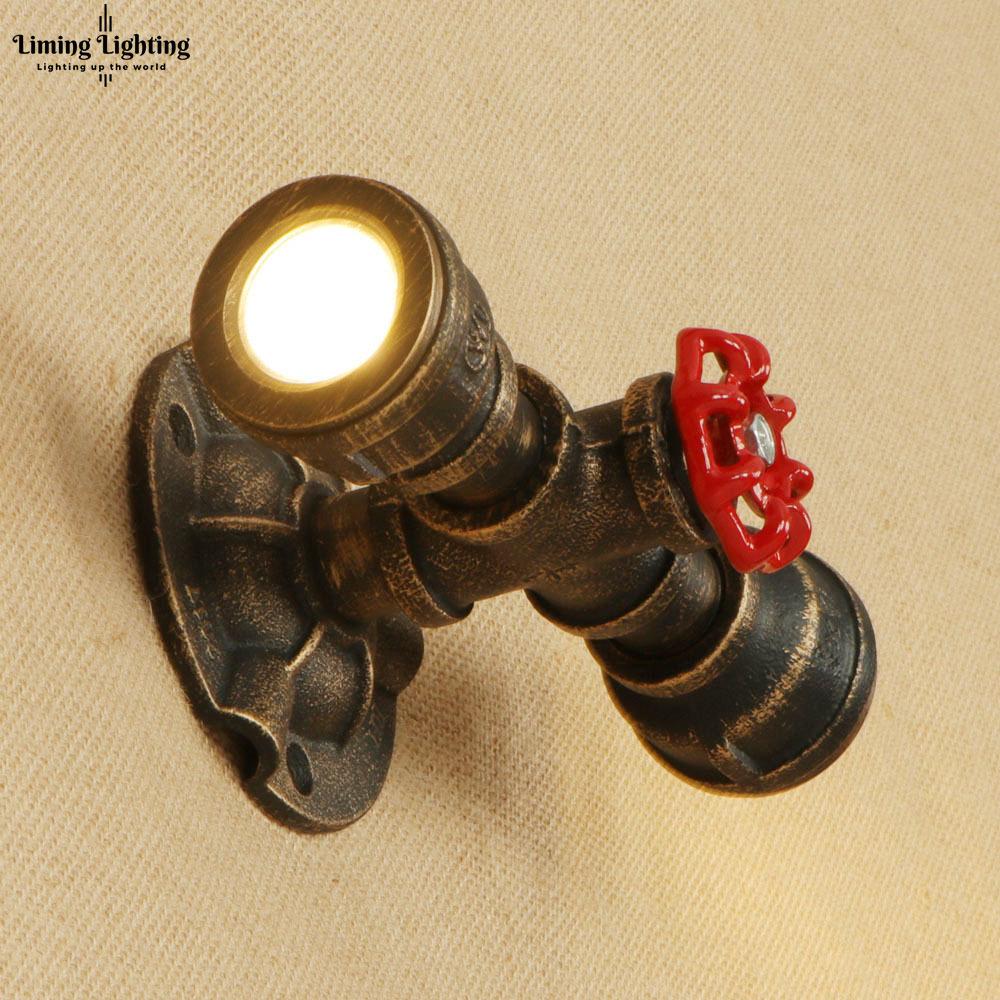 LED Painted Steam Punk Loft Industrial Iron Rust Water Pipe Retro Wall Lamp Sconce 2 Lights For Bedroom Restaurant Living Room 10w ac 110v 220v integrated led tube light bulb t8 led lamp tube 600mm smd 2835 wall lamps cold warm white lampada led spotlight