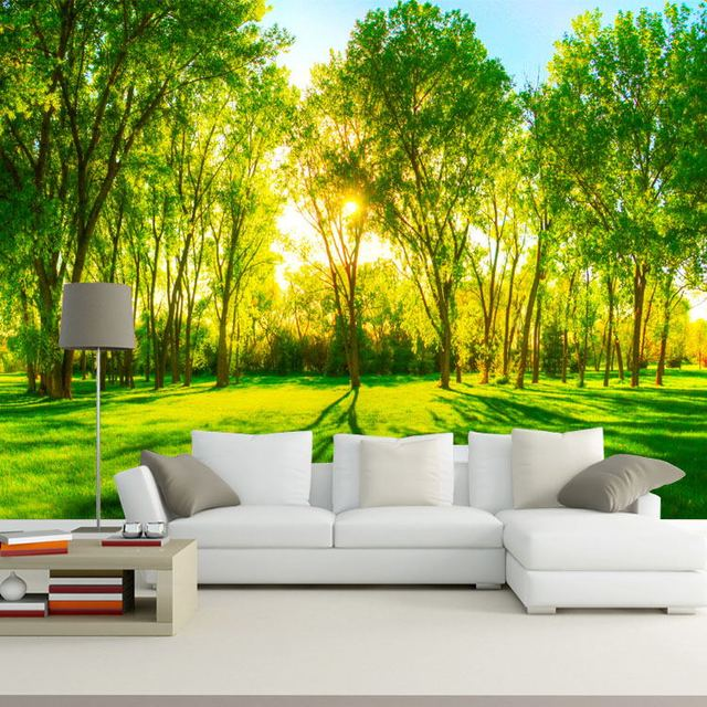 Forest trees photo wallpaper custom 3d wallpaper natural for 3d wall art wallpaper