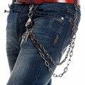 Free King Men Long Key Chain Eagle Head inlay PU Joint Gun Metal Link Wallet Chain Falcon Talons Pendant Punk Jeans Chain J65