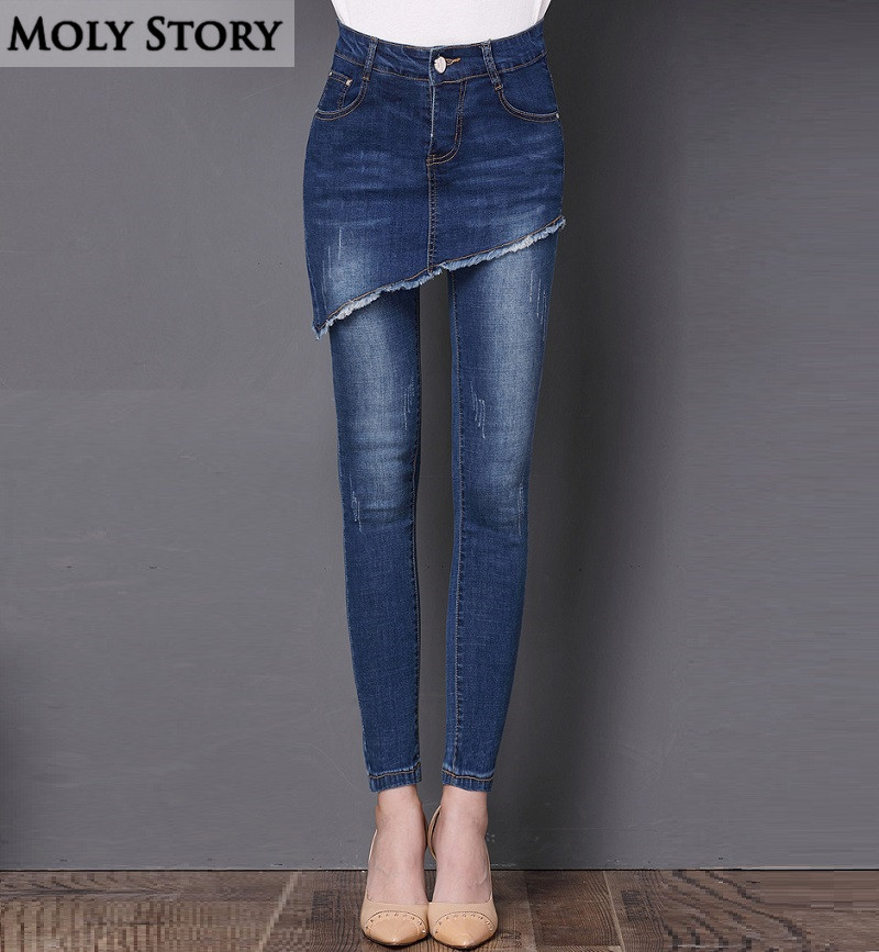 Fashion Ladies Cropped Skirt Fringe Edges Rippped Jeans Women Plus Size Tassels Pencil Skinny Jeans Femme Stretch Denim Pants rosicil new women jeans low waist stretch ankle length slim pencil pants fashion female jeans plus size jeans femme 2017 tsl049 page 6