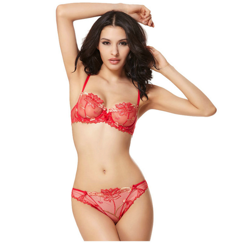 90e1bf497 Ultrathin Cherry embroidery lace bra briefs set sexy push up underwear bra  set women lingerie bra and panty set intimates