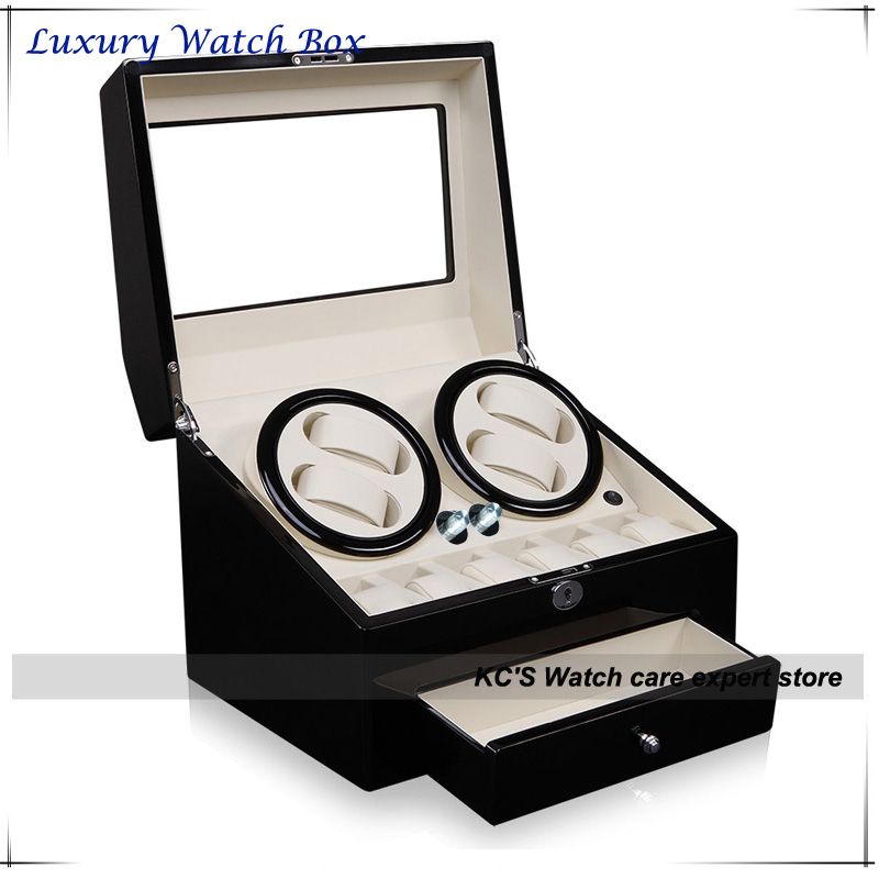 Quality Black Leather & Wood Winder Watch Box for RLX 4 + 6 Storage Display Case Box for Brand Watches GC03-D66BW-F