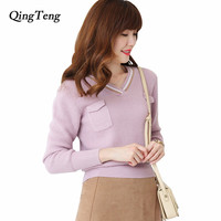 Spring And Autumn New Cashmere Wool Sweater Women S V Neck Pullover Fashion Loose Knit Underwear
