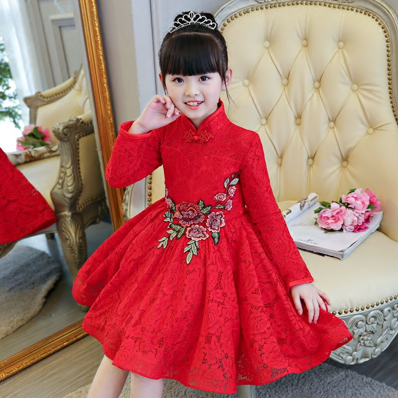 2017 New Elegant Children Girls Chinese Red Princess Lace Dress Kids Babies Embroidery Flowers Birthday Wedding Pageant Dress girls europe and the united states children s wear red princess long sleeve princess dress child kids clothing red bow lace