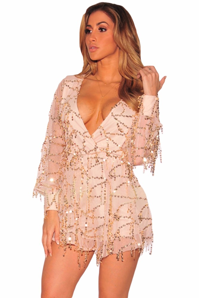 Champagne-Flowing-Sequins-Long-Sleeves-Romper-LC64183-18-2
