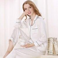 100% чистого шелка 22 momme пижамы женские простые однотонные Длинные рукава благородный пижамные комплекты женский шелковый Ночная Женская дом